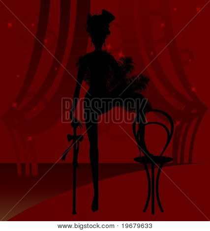 silhouette of a cabaret dancer