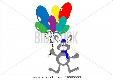 Hare with balloons