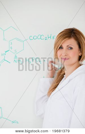 Cute Female Scientist Looking At The Camera While Writing A Formula On A White Board