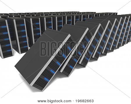 3d image of lots of server fall down