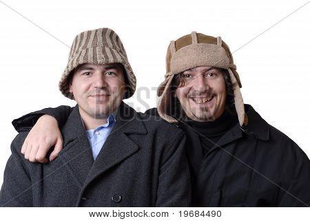 Two Men Portrait On White