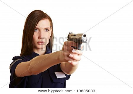 Policer Officer Aiming A Gun