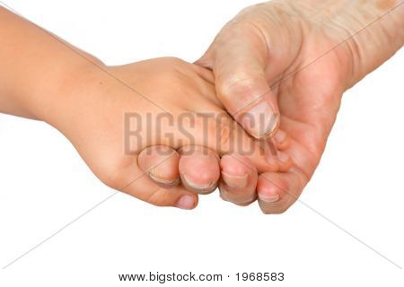 Hands Of The Girl And The Grandmother