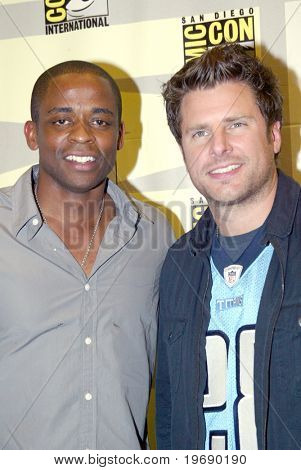 SAN DIEGO, CA - JULY 22: Dule Hill and James Roday arrive in the press room for