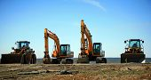 image of construction machine  - Heavy construction equipment backhoe bulldozer - JPG