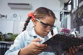 Concentrated elementary student examining circuit board on desk at electronics lab poster