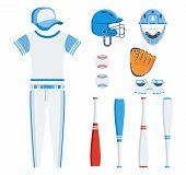 Set Of Baseball Eqipment poster