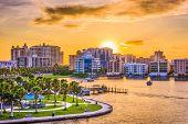 Sarasota, Florida, USA downtown skyline on the bay. poster
