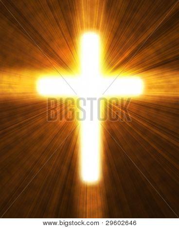 Cruz brillante sobre un fondo negro, con rayos radiales de la luz