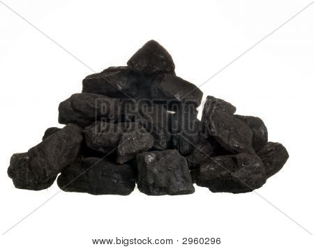 Pile Of Coal On White Background