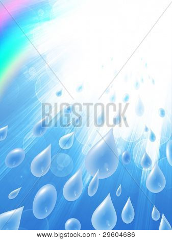 raindrops and rainbow against the sky with rays of light, abstract background