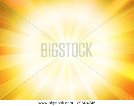 Glowing sunset on a bright red background