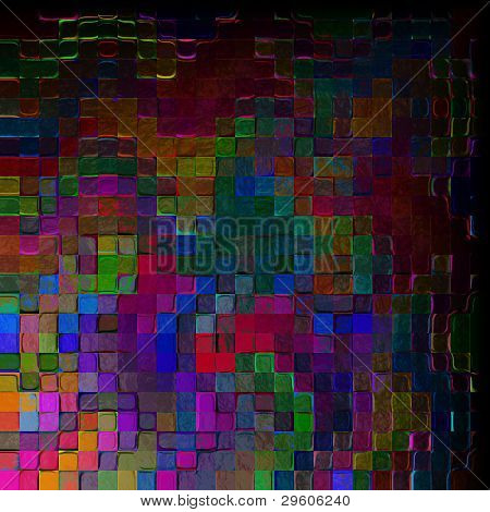 abstract relief background of colored square tiles with a contrasting light