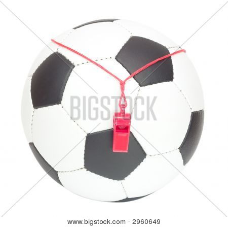 Soccer Concept, Ball With Referee'S Whistle