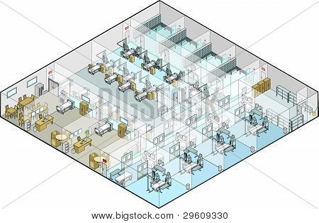 Hospital Operating Theatres Vector Isometric