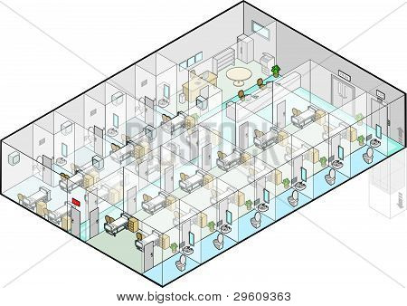 Hospital Wards Vector Isometric