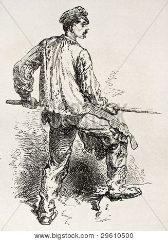 Steam hammer worker in Le Creusot foundry. Created by Neuville after Bonhomme, published on Le Tour du Monde, Paris, 1867