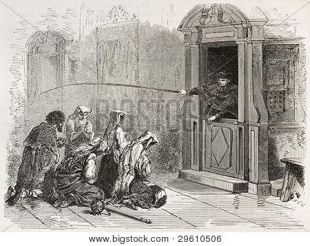Penance old illustration. Created by Neuville after Ulmann, published on Le Tour du Monde, Paris, 1867