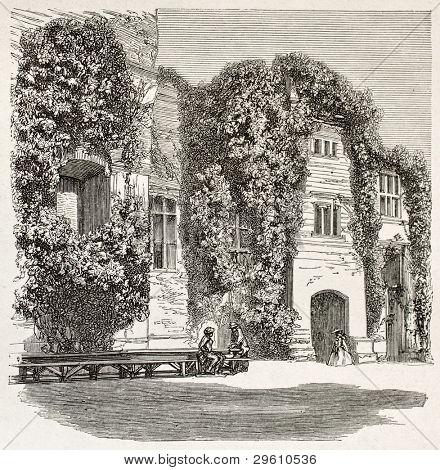 Ragan castle old view, Wales. Created by Grandsire, published on Le Tour du Monde, Paris, 1867