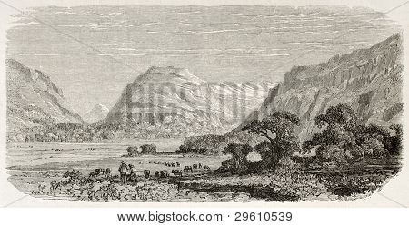 Bryn Myrddin old view, Wales (Merlin's Hill). Created by Grandsire after Erny, published on Le Tour du Monde, Paris, 1867