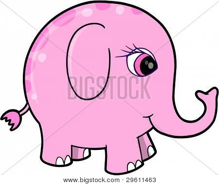 Cute Pink Girl Elephant Animal Vector Illustration Art