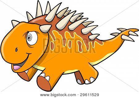 Crazy Insane Orange Dinosaur Vector illustration