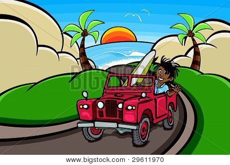 Surfer in Red Landrover Driving Vector