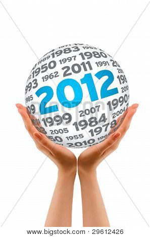 Manos sosteniendo una esfera de 2012