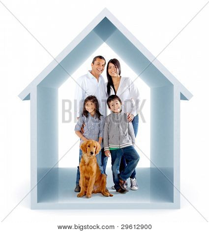 Family in a 3D house illustration - isolated over a white background