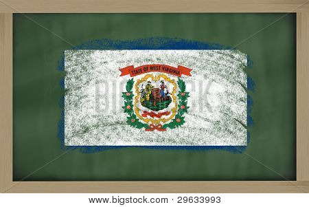 Flag Of Us State Of West Virginia On Blackboard Painted With Chalk