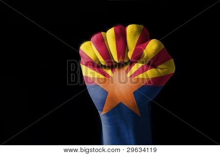 Fist Painted In Colors Of Us State Of Arizona Flag