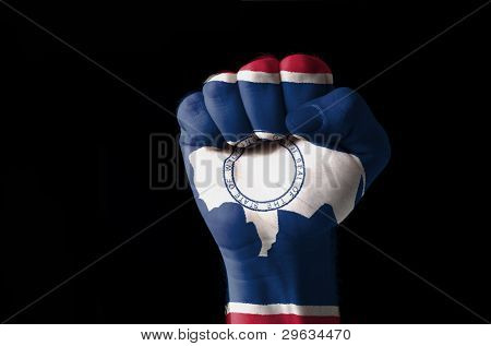 Fist Painted In Colors Of Us State Of Wyoming Flag