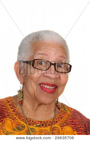 closeup of smiling elderly African American Woman wearing black rimmed glasses isolated on white