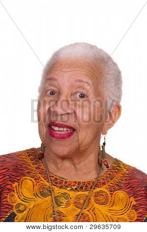 closeup of smiling elderly African American Woman isolated on white