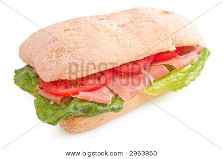 Ciabatta Sandwich With Prosciutto (Parma Ham) And Tomatoes