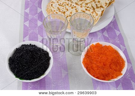 Vodka, Pancakes, Red And Black Caviar