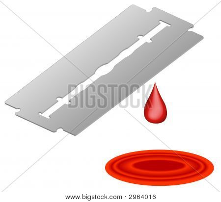 Razor Blade With Blood Drip