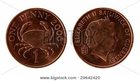 Old Guernsey 1 Penny Coins On The White Background (2006 Year)