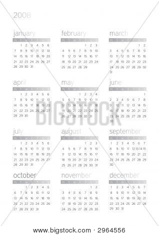 2008 White Calendar