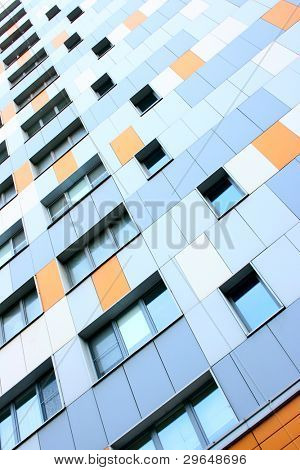 Wall of modern apartment building. Moscow. Russia