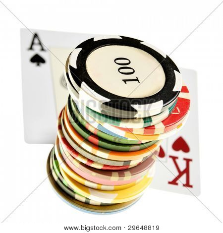 Ace - king offsuit and colorful chips isolated over white background