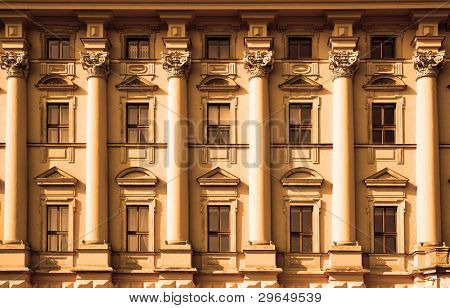 Windows of classic style palace close up