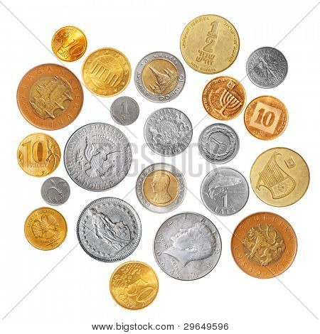 Various coins isolated over the white background