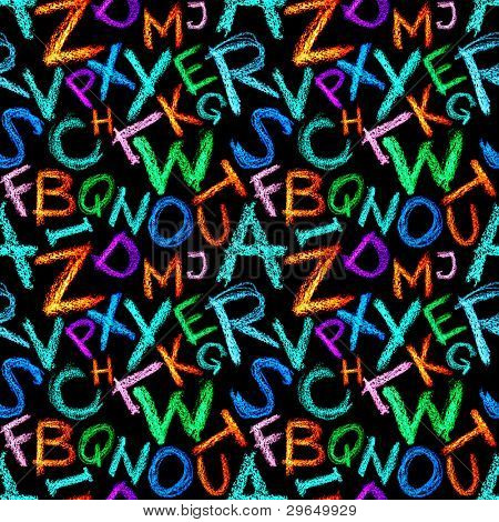 Seamless pattern - Crayon letters over white background