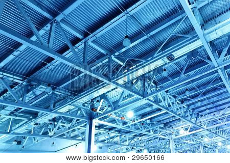 Ceiling of storehouse toned in the blue color