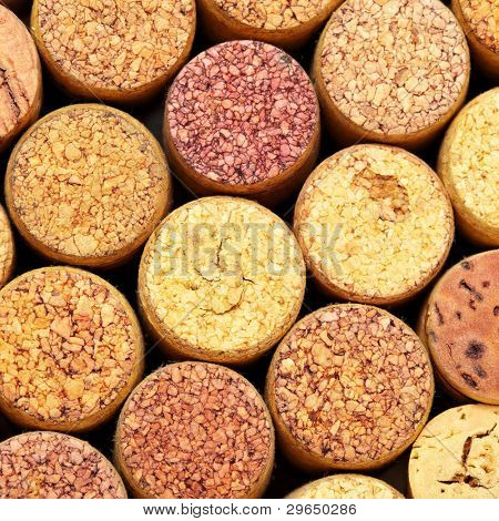 Wine corks close up view from above.