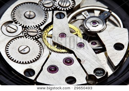 Clockwork of wristwatch super close up