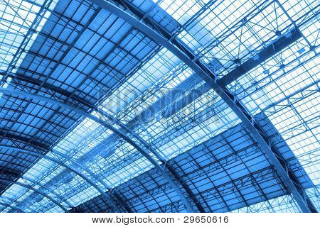 Roof of industrial building noned in blue color