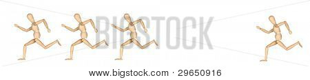 Four wooden mannequin running isolated on white background