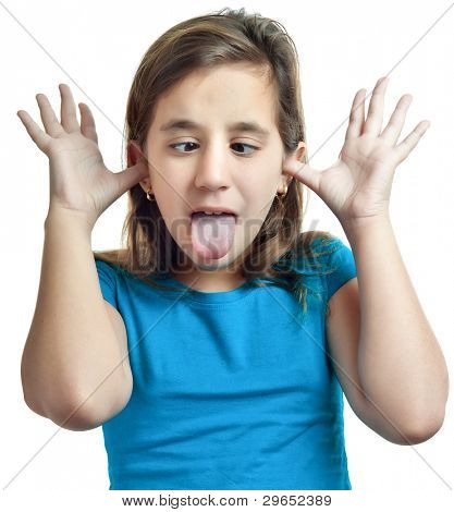 Small hispanic girl making a funny face isolated on white